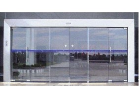 Frameless glass hospital entrance door